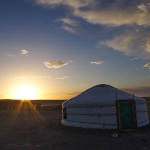 Désert, yourte, Gobi, Mongolie