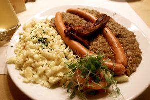 Spatzle et lentilles Allemagne